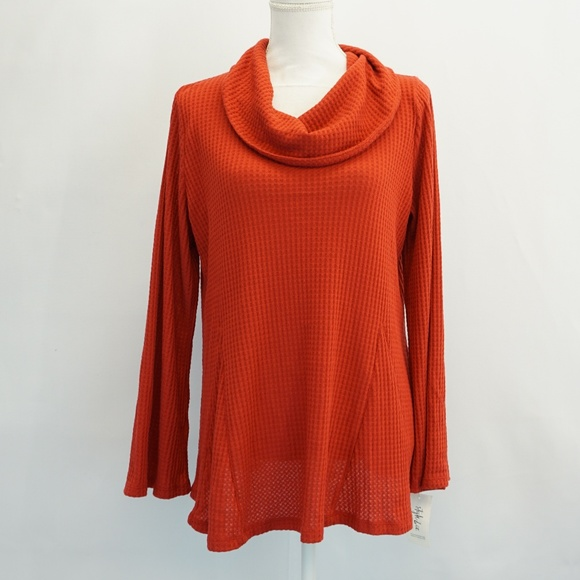 STYLE /& CO Canyon Red Long Bell Sleeve Cowl Neck Sweater NWT 3X